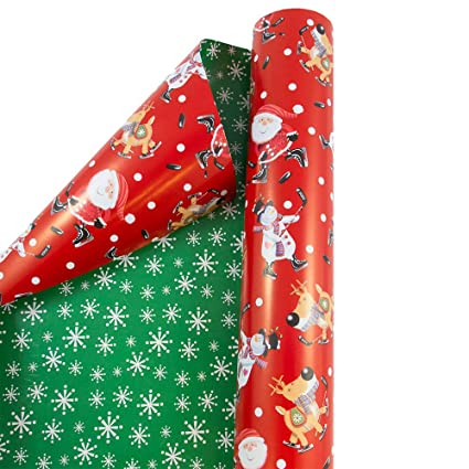 Amazon.com: JAM PAPER Gift Wrap - Christmas Wrapping Paper - Double ...