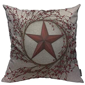 Mugod Throw Pillow Cover Western Country Red Stars Berries Patio Home Decorative Square Pillow Case for Men Women Boy Gilrs Bedroom Livingroom Cushion Cover 18x18 Inch, Beige Red Pillowcase