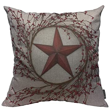 Mugod Throw Pillow Cover Western Country Red Stars Berries Patio Home Decorative Square Pillow Case for Men Women Boy Gilrs Bedroom Livingroom Cushion ...