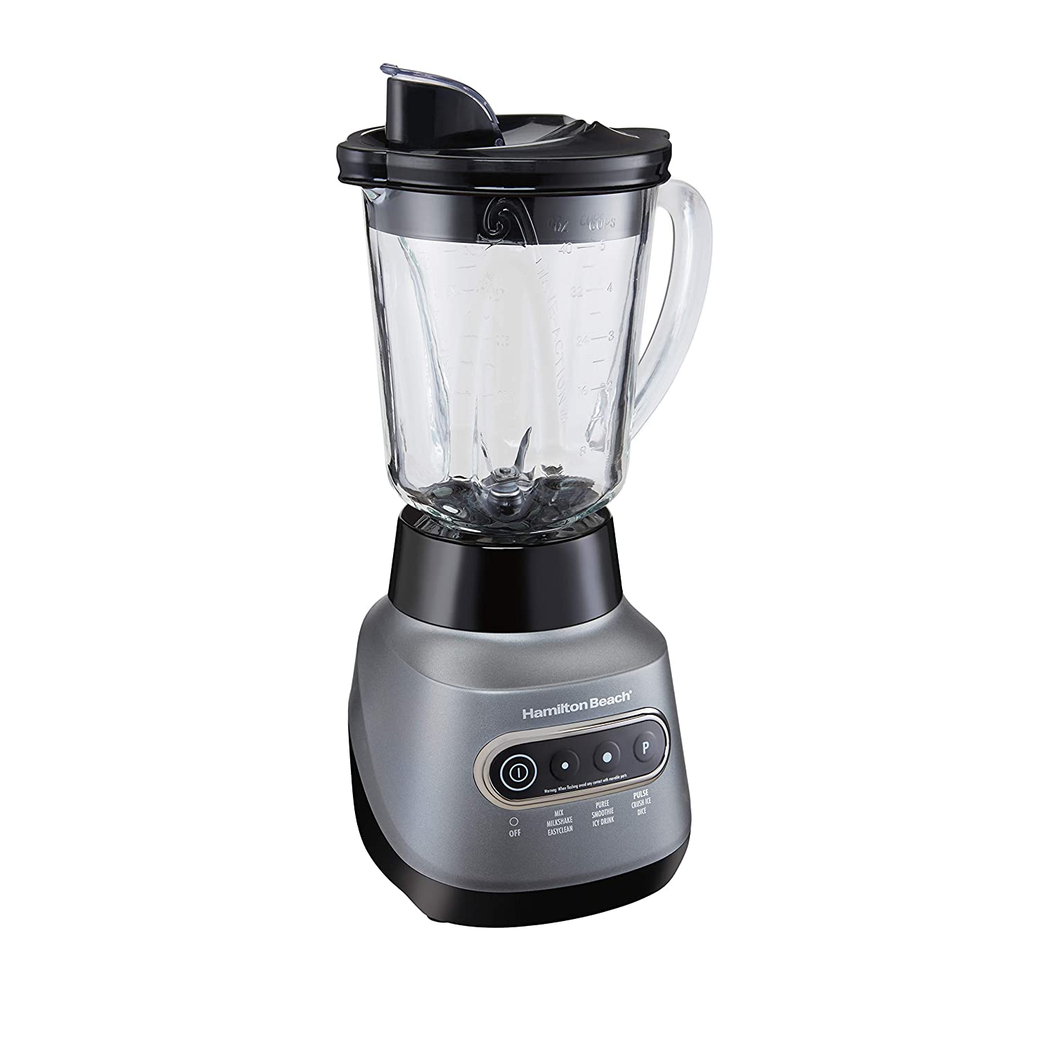 Hamilton Beach 58181 Wave Crusher Electric Blender with 6 Functions, Quieter Blending, Ice-Crushing Stainless Steel Blades, 800 Watts, 3-Year Warranty, 40 oz Glass Jar, 20 oz Personal Jar, Silver