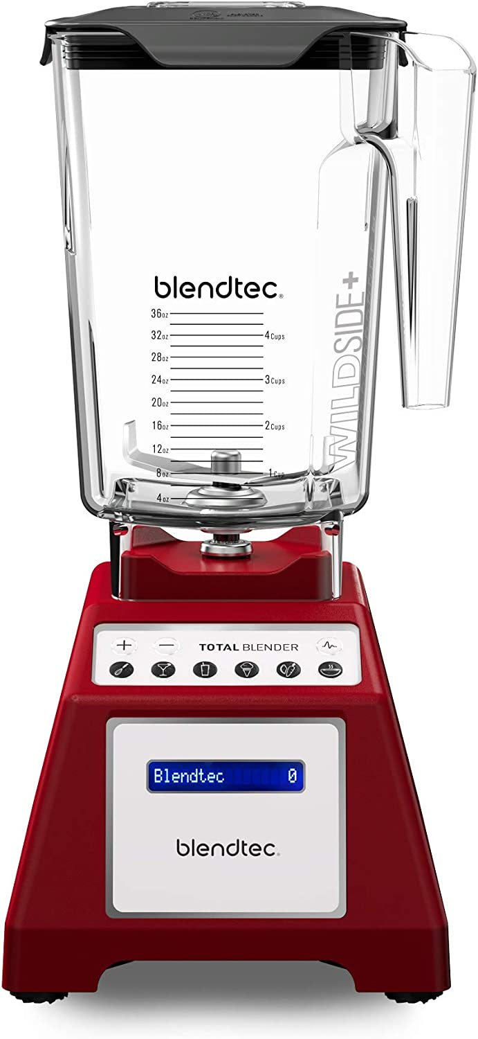 Blendtec Total Classic Original Blender – WildSide Jar 90 oz – Professional-Grade Power – 6 Pre-programmed Cycles – 10-speeds – Red