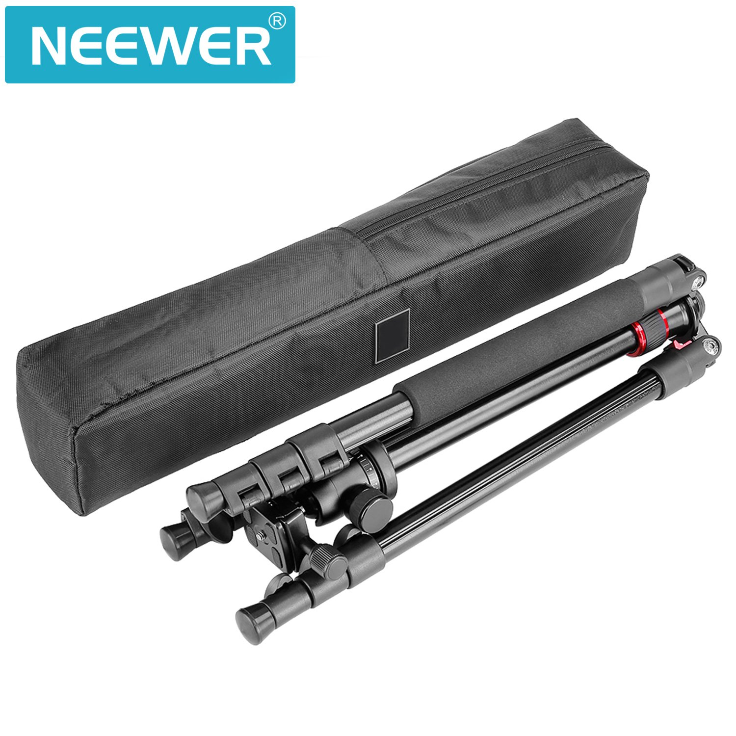 Neewer Alluminum Alloy 62''/158cm Camera Tripod with 360 Degree Ball Head, 1/4'' Quick Shoe Plate, Bag for DSLR Camera, Video Camcorder, Load up to 17.6lbs/8kg