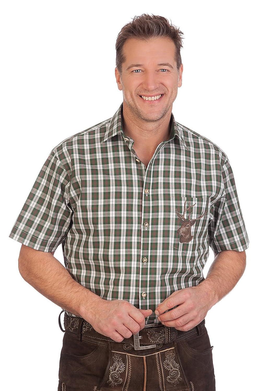 H1625 - Trachten Herren Hemd mit 1/2 Arm - hellblau, flaschengrün
