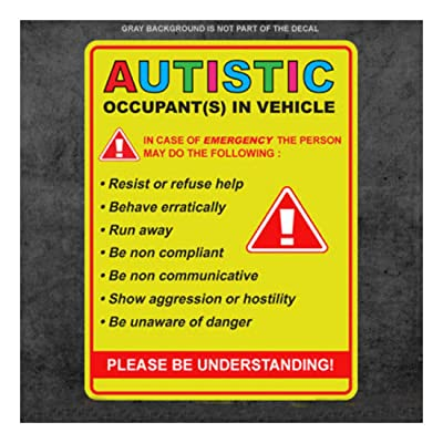 Autistic Occupant in Vehicle - Sticker Decal Autism Awareness car Truck Window: Office Products
