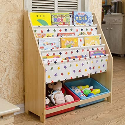 PLLP Home Bedroom Bookcase Toy Storage Rack Solid Wood Childrens Bookshelf Baby Picture Book Stand Floor