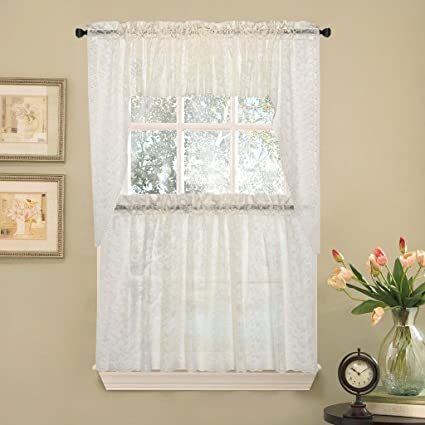 Elegant Ivory Priscilla Lace Kitchen Curtains   Swag
