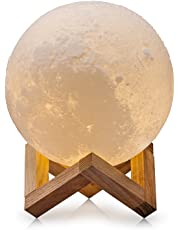 7.3 Extra Large Inch Touch Control Moon Lamp, Stepless Dimmable,3D Printed Light, USB Recharge,PLA Material(Warm White & Cool White)
