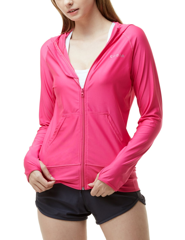 TSLA Women's UPF 50+ Full & Half Zip Front Long Sleeve Top Rashguard Swimsuit, Sun Block Zip Hoodie(fsz02) - Magenta, XX-Large by TSLA