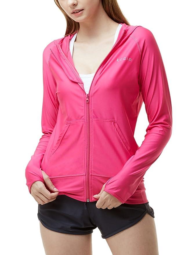 TSLA Women's UPF 50+ Full & Half Zip Front Long Sleeve Top