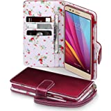 Honor 5X Case, Terrapin [Red] [Floral Interior] Premium PU Leather Wallet Case with Card Slots Cash Compartment and Detachable Wrist Strap for Huawei Honor 5X - Red
