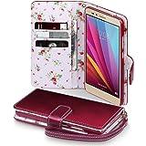 Huawei Honor 5X Funda Cartera Premium PU Tapa delantera con billetera para tarjetas y Correa Extraible - Rojo con flores interiores