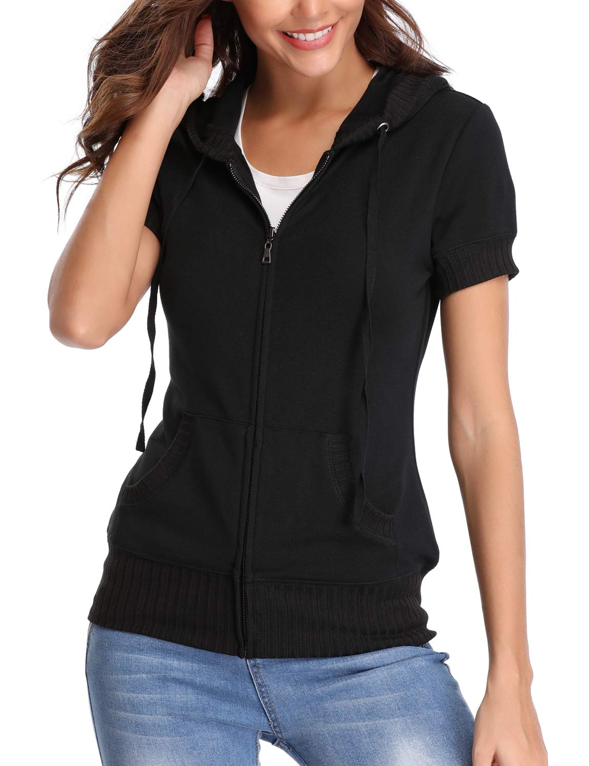 MISS MOLY Autumn Hoodie Zip up Short Sleeve Jacket for Women Thin Sweater Sweatshirt Summer Lightweight Coat