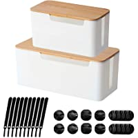 [Set of 2] Wood Cover Cable Management Box Set, Wire Ties Included to Organize Desk Cord Cables, Hide TV Computer Wires…