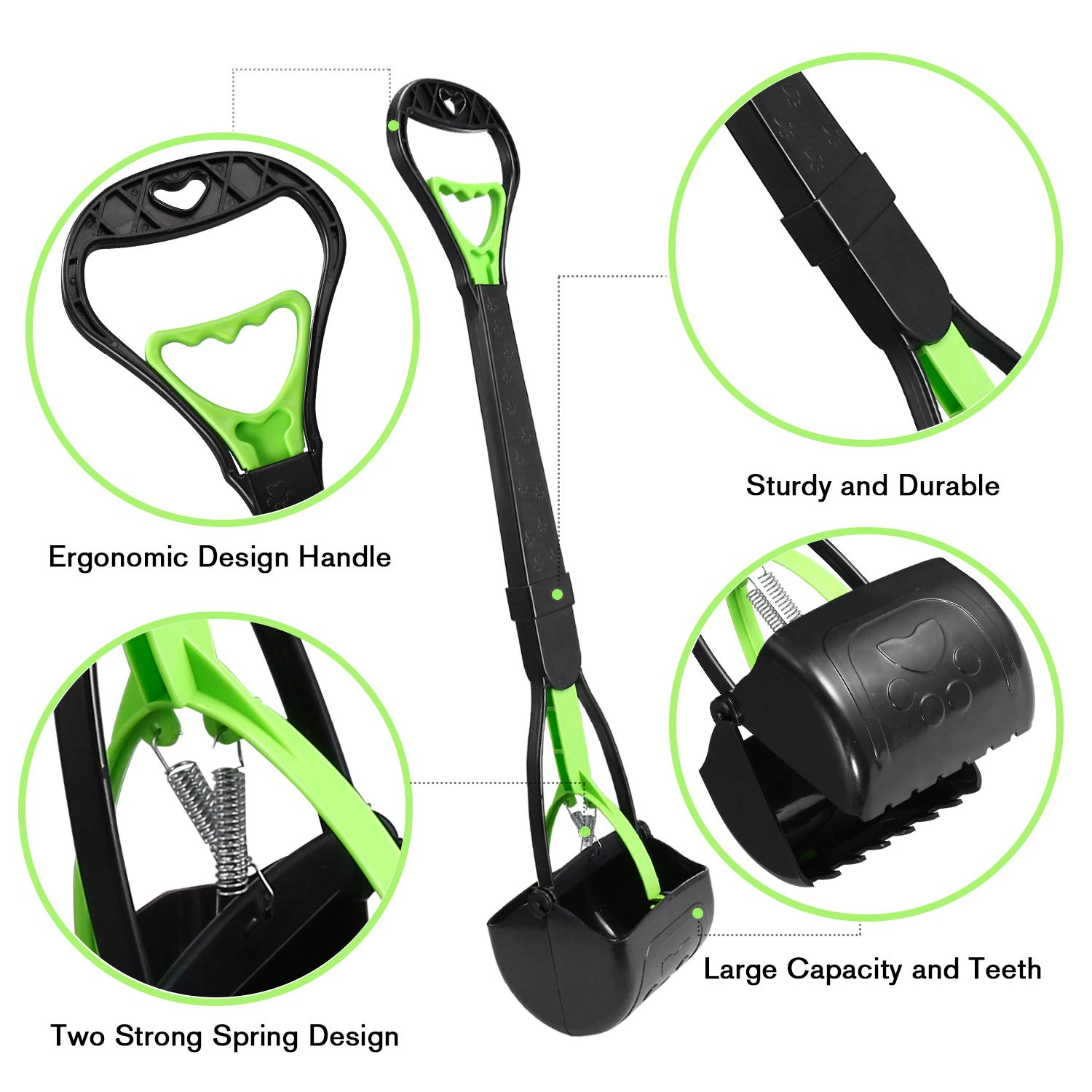 TIMINGILA Long Handle Pet Pooper Scooper for Dogs and Cats with High Strength Material and Durable Spring Easy to Use for Grass, Dirt, Gravel Pick Up (Green)