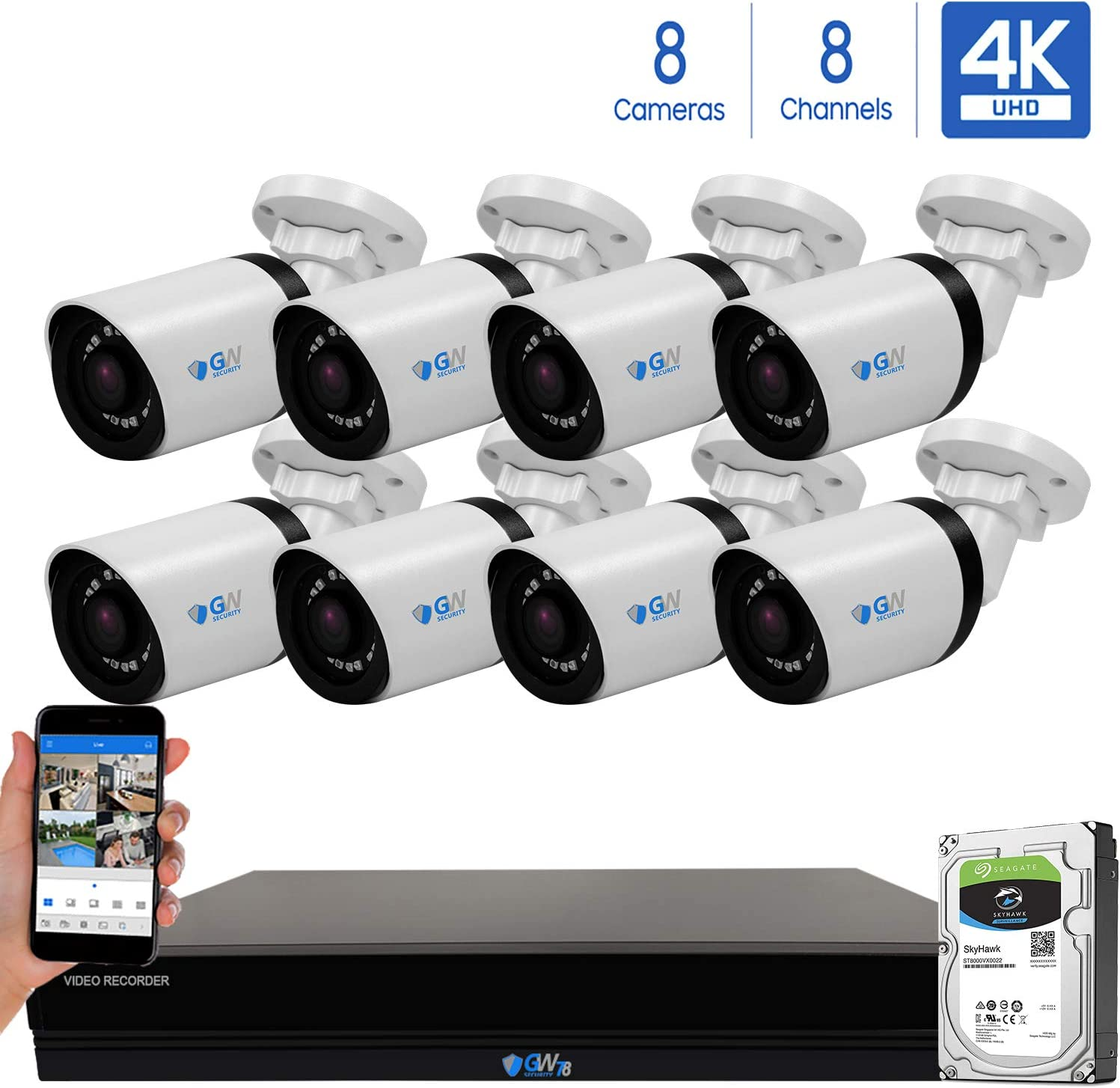 GW 8 Channel 4K H.265 CCTV DVR Security System with 8 x HD 8MP 2160P Outdoor Indoor 4K Bullet Security Cameras, 100ft Night Vision, 3TB Hard Drive Pre-Installed