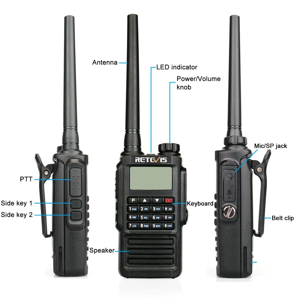 Retevis RT87 Walkie Talkie Impermeable IP67 Doble Banda 128 Canales CTCSS//DCS FM Radio VOX Alarma de Emergencia MSK//DTMF 2T Negro, 1 Pack 5T Pantalla LCD