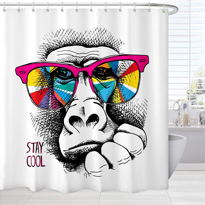 Funny Shower Curtain Bathroom Set, Modern Fashion Gorilla Animal Stay Cool Quote Bath Curtain, Cute Waterproof Fabric Bathroom Decor Set with Hooks