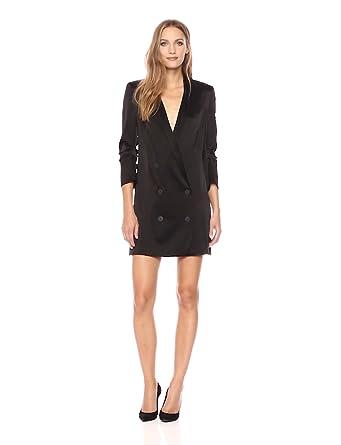 8e29921d1320 Halston Heritage Women's Bracelet Sleeve Double Breasted Satin Shirtdress,  Black XS