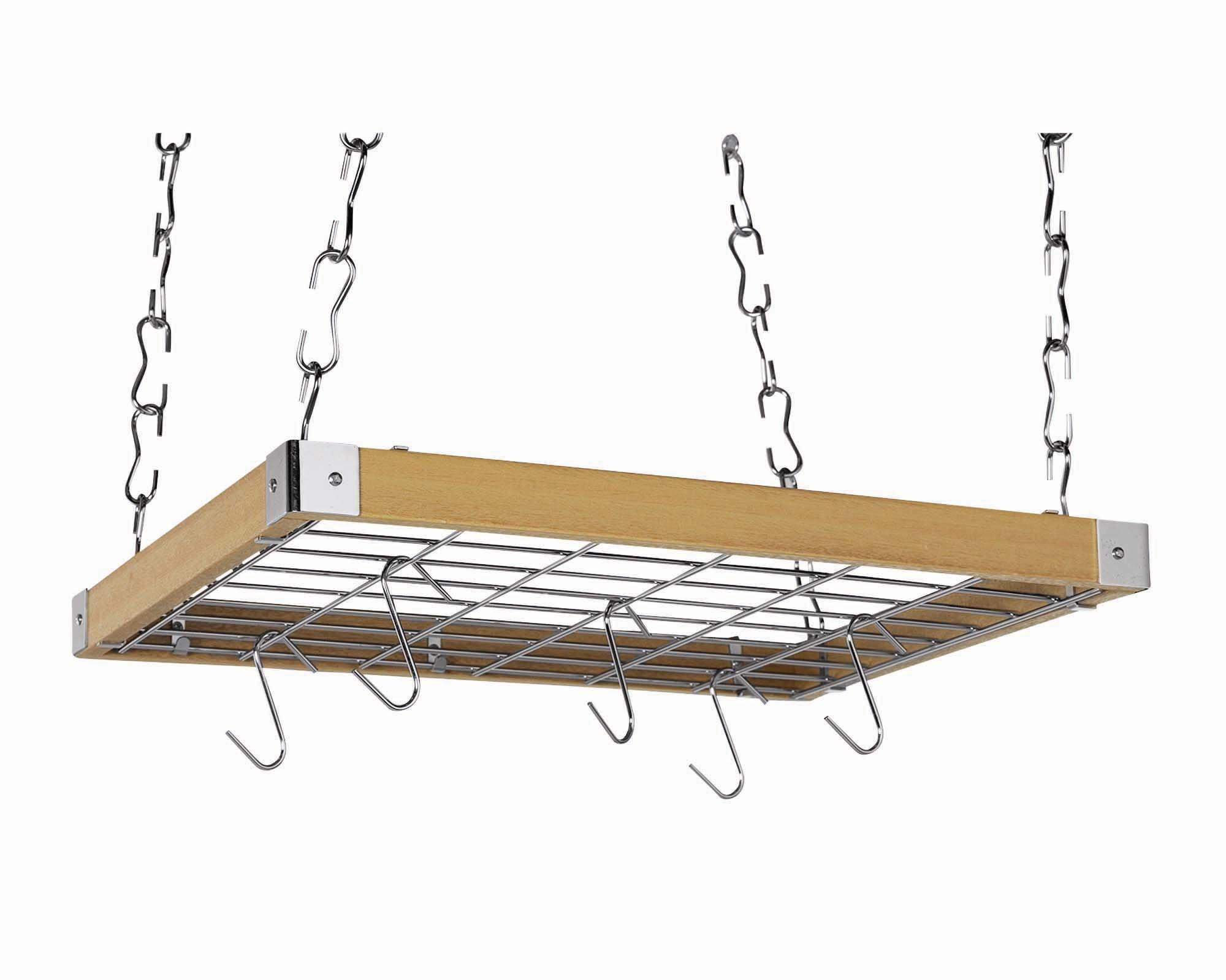 Concept Housewares PR-40293 Hardwood Square Hanging Pot Rack, Natural