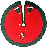 Pie de árbol redondo en fieltro rojo y verde de 95 cm