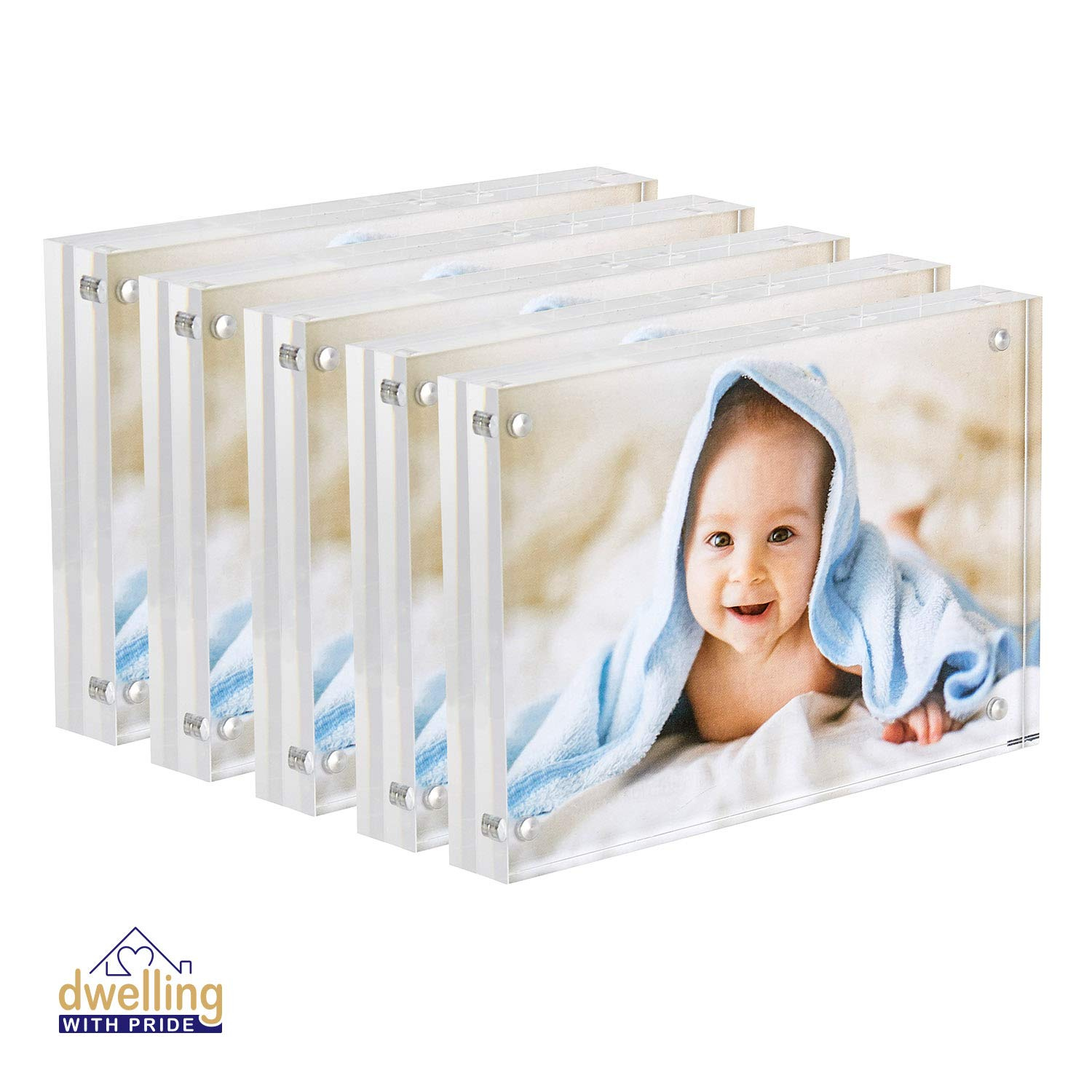 Dwelling With Pride Acrylic Picture Frame Set of 5-4x6 Inch   Magnetic Frame   Collage Stand for Family Photographs   Clear Standing Blocks for Office Desk & Side Table   Wedding Gifts