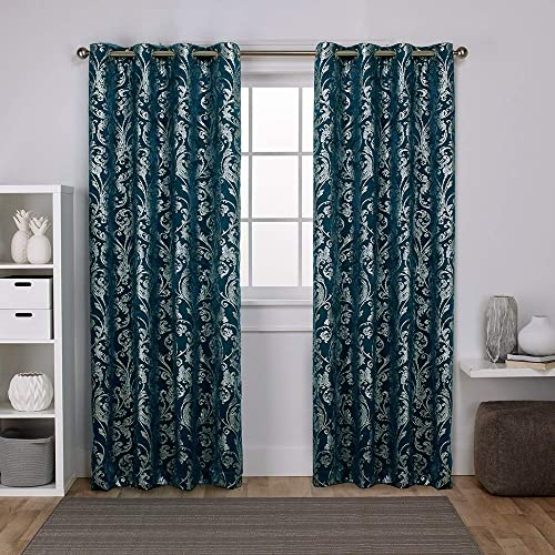 Exclusive Home Curtains EH8250-03 2-96G Watford Distressed Metallic Print Thermal Window Curtain Panel Pair