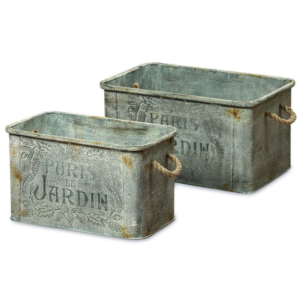 Rustic Galvanized Metal French Country Jardinières Set of 2
