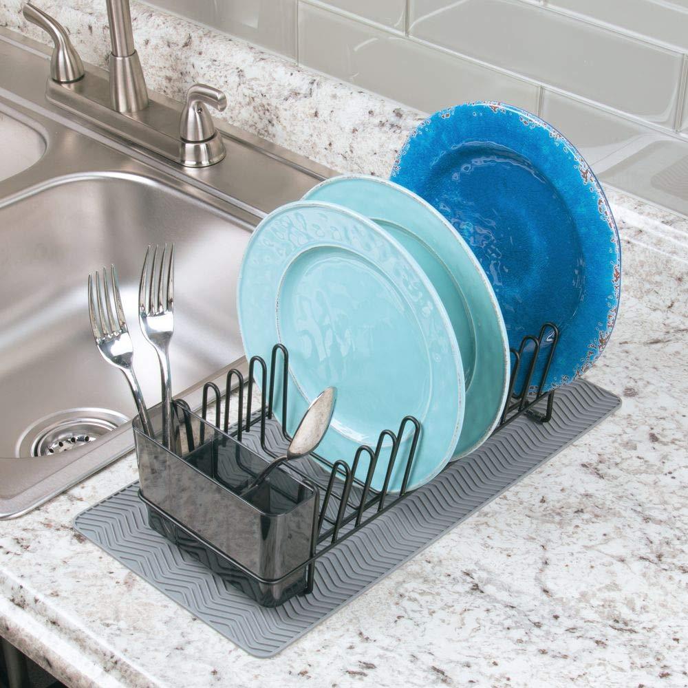 mDesign Hasta 12 platos Escurridor de platos Color: bronce Pr/áctico escurreplatos con cubertero Elegante escurrecubiertos para vajilla con bandeja cubiertos