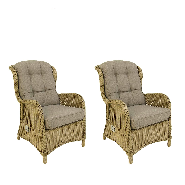 Pack 2 sillones reclinables para jardín, Aluminio y rattán ...