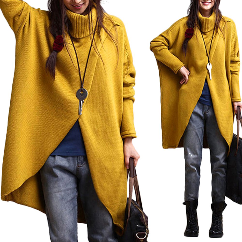 Slim Bloom Women's Chic Turtleneck Knitted Chunky Cable Long Sleeve Poncho Pullovers Sweater Yellow 4XL