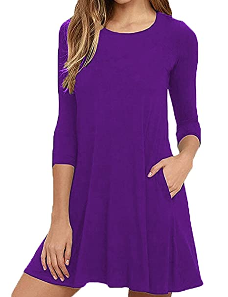 1ed6638b8208 Women s Pockets Casual Swing T-Shirt Dresses Loose 3 4 Sleeve Dresses ( Purple