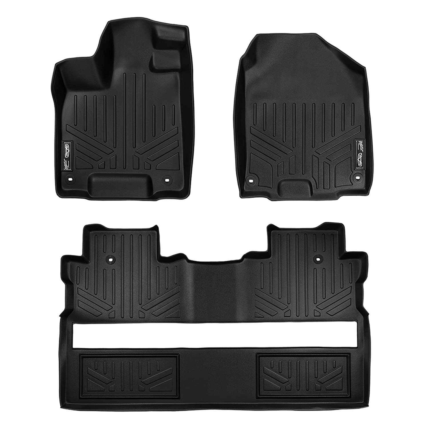 MAX LINER A0240/B0240 Custom Fit Floor Mats 2 Row Liner Set Black for 2017-2019 Honda Ridgeline Crew Cab - All Models