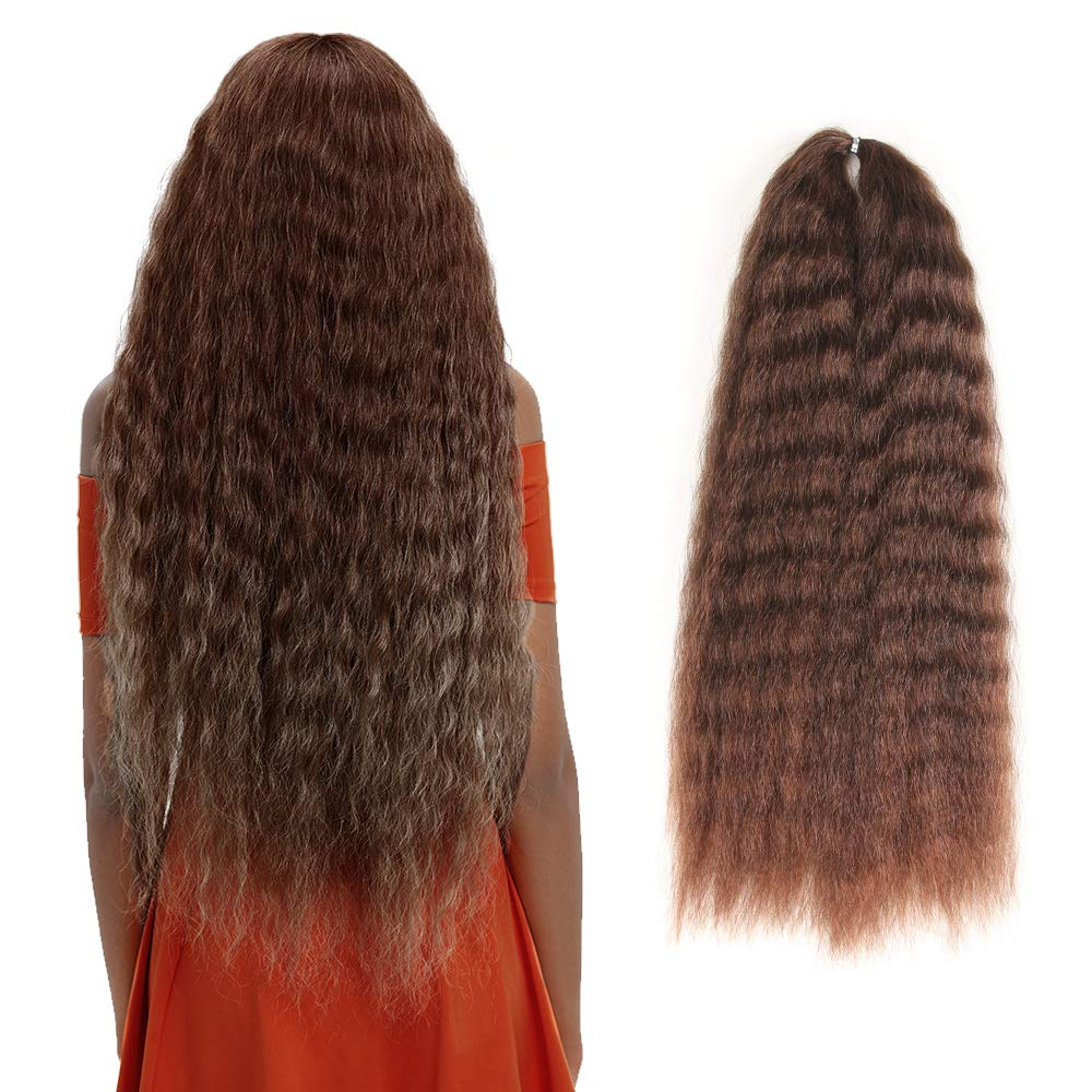 Amazon Com Fashion Idol Yaki Straight Crochet Hair 20 Inch Long Natural Wave Crochet Hair Kanekalon Water Wave Hair For Black Women Ombre Gold Som30 33 Beauty
