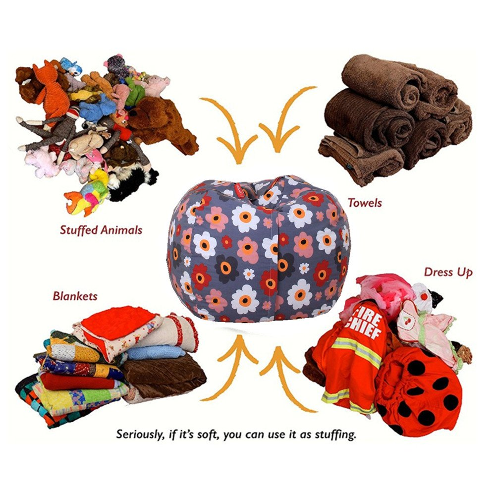 EXTRA LARGE Stuffed Animal Storage Bean Bag Chair with Extra Long Zipper, Carrying Handle, Large Size at 32'', 100% Sturdy Cotton. Excellent Solution for Toys and Clothes, Available For Boys And Girls by Mao (Image #2)
