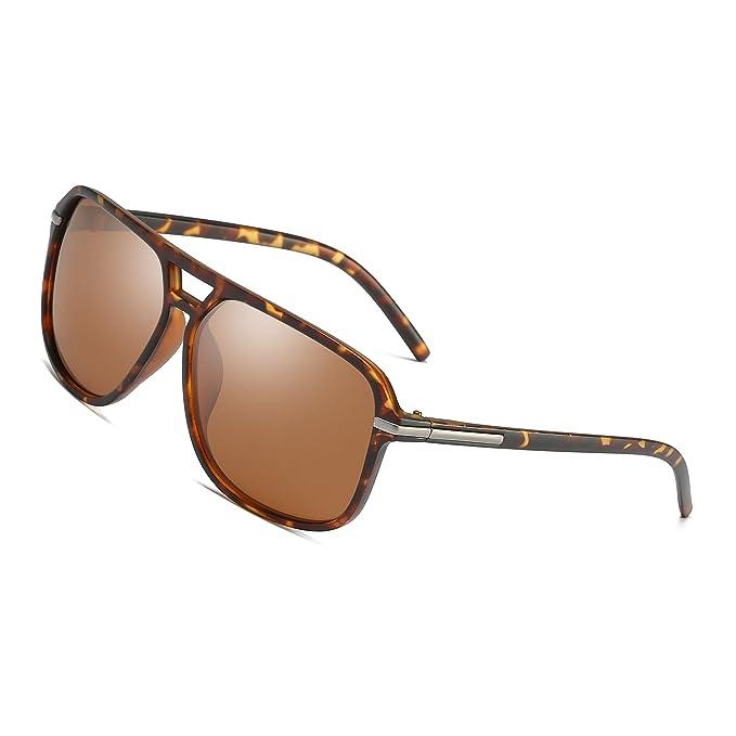 c0768f0c92 Polarized Sunglasses for Men Aviator Driving Women Mens Sunglasses  Rectangular Vintage Sun Glasses (Tortoise