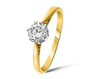 Diamantring verlobung  Klassischer 18 Karat (750) Gold Solitär Verlobung Damen - Diamant ...
