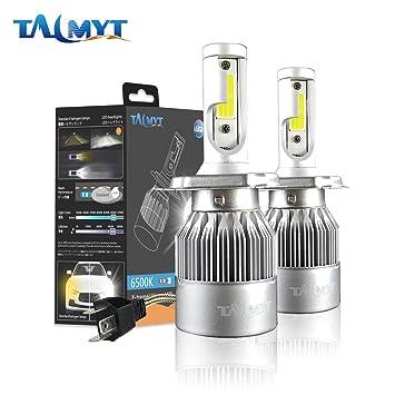 H4 LED COB Luces Delanteras del Coche Kit 3800LM 6000K Lámparas de luz Blanca Bombillas: Amazon.es: Coche y moto
