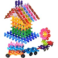 Planet of Toys Building Block for Kids Snowflake Shape Blocks Toys for Childrens Game Play - Multicolor (180 Pcs)