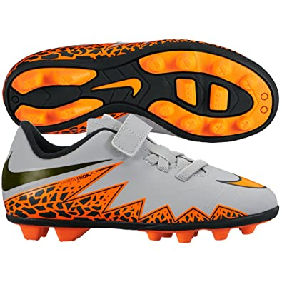 Nike Youth Hypervenom Phade II Velcro FG Firm Ground Soccer Cleats 11 US,  Wolf Grey