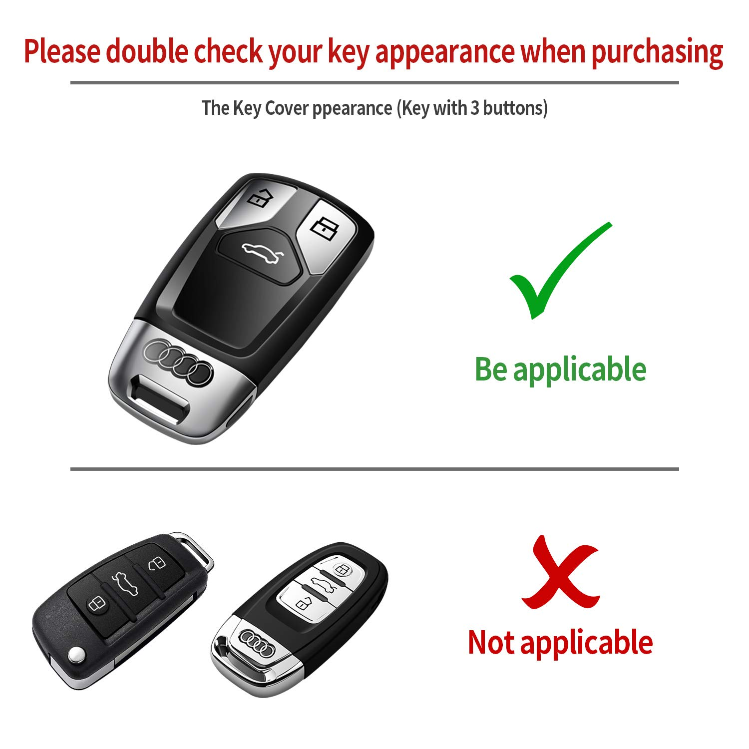 Tukellen for Audi Key Fob Cover Special Soft TPU Key Case Cover Protector Compatible with Audi A4 Q7 Q5 TT A3 A6 SQ5 R8 S5 Smart Key Red