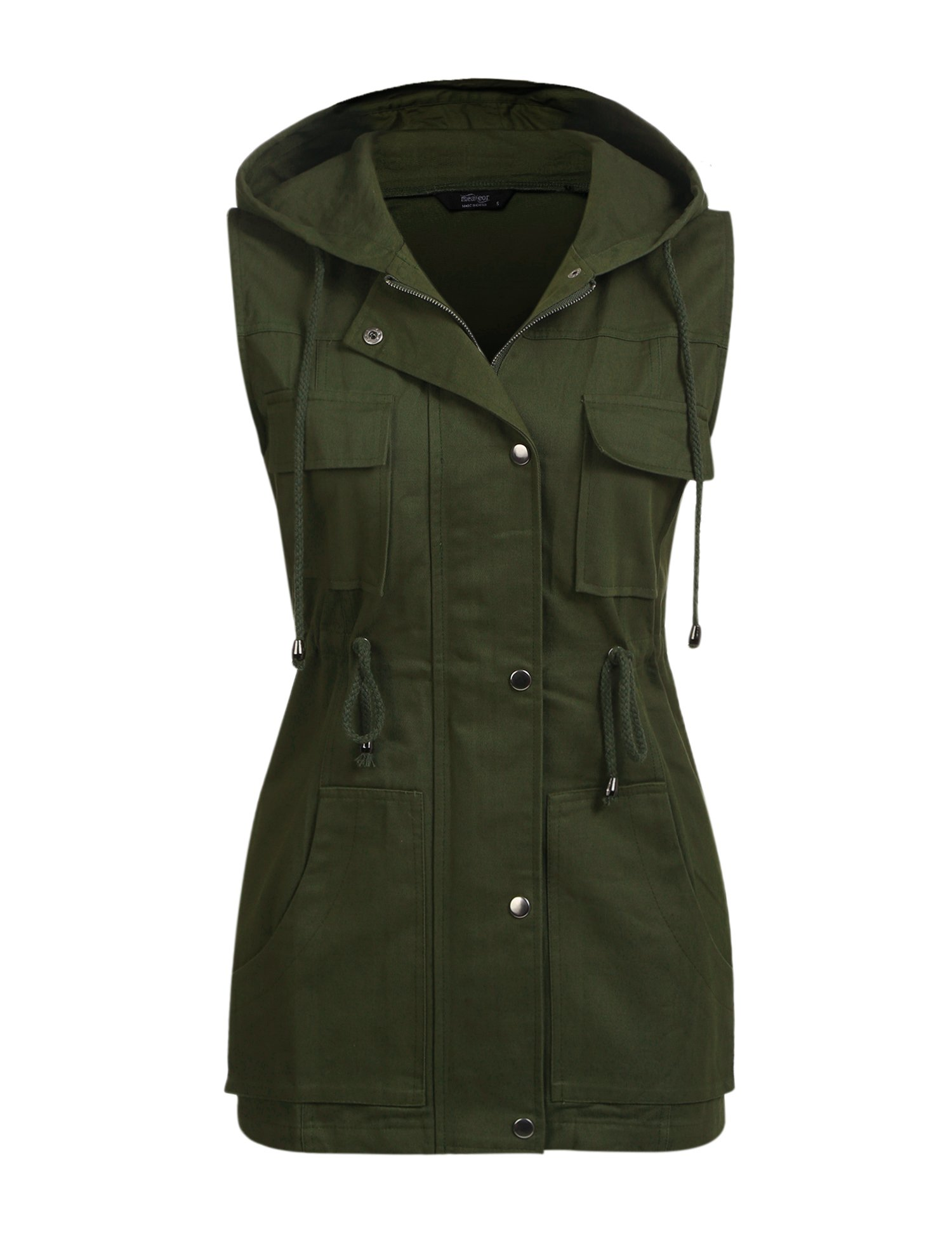 Beyove Utility Style Vest With Collar Front Zipper/Snap Closure Olive Green Small