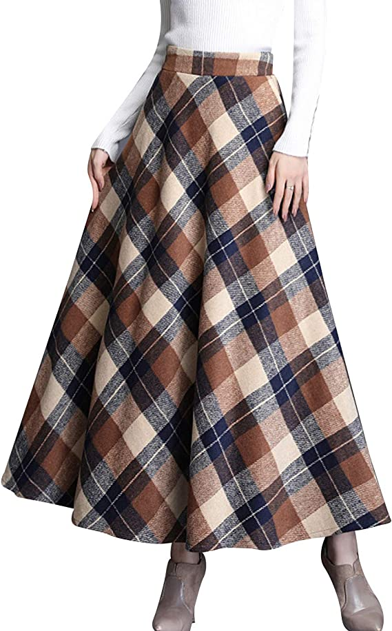 1900 -1910s Edwardian Fashion, Clothing & Costumes Firehood Womens Vintage Wool Blend High Rise Elstic Waist A Line Flare Swing Midi Plaid Skirt $28.99 AT vintagedancer.com