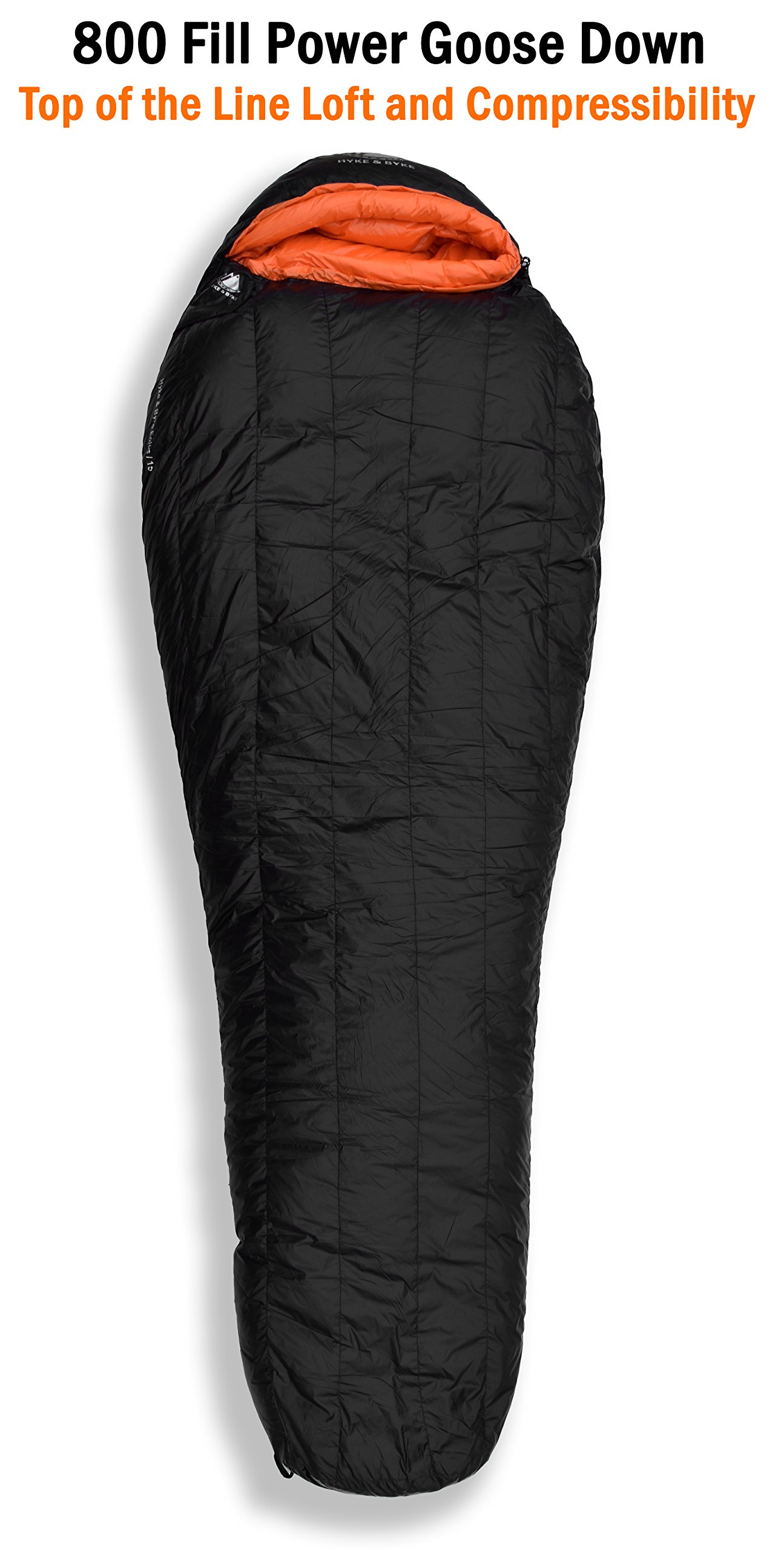 Hyke & Byke Eolus 15 & 30 Degree F 800 Fill Power Hydrophobic Goose Down Sleeping Bag with ClusterLoft Base - Ultra Lightweight 3 Season Men's and Women's Mummy Bag Designed for Backpacking 10