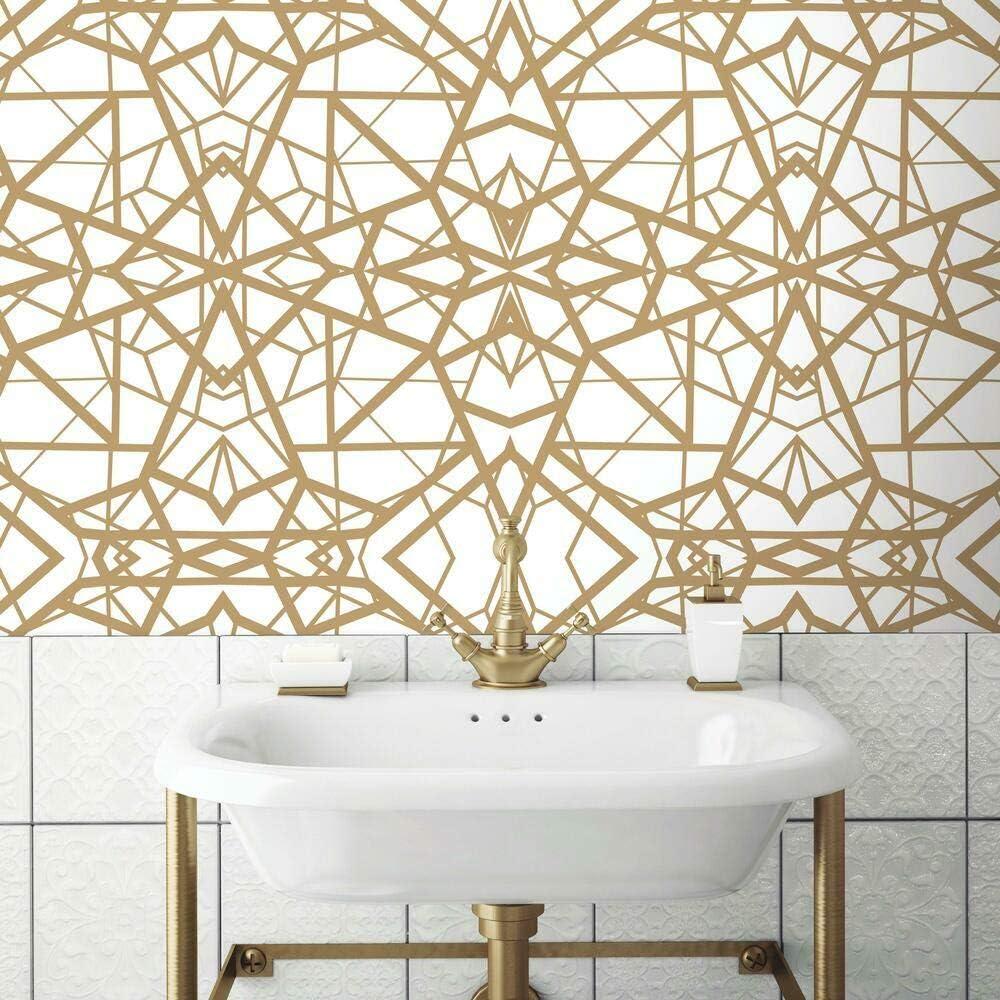 Roommates White Gold Shatter Geometric Peel And Stick Wallpaper Amazon Com
