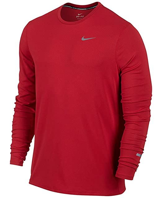 Nike NIKEMens Running Contour Long Sleeve Shirt Dri-Fit Crew TEE 849954 Mens  RED ( 54457f18b80