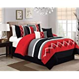 Arden by Chezmoi Collection - 7 Pieces Modern Pleated Stripe Embroidered Zigzag Bedding Comforter Set (Queen, Red/Gray/Black/Off-White)