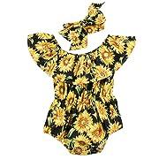 Newborn Baby Girls Sunflower Romper Off Shoulder Bodysuit Jumpsuit Sunsuit Outfits Set Clothes (Black, 0-6 Months)