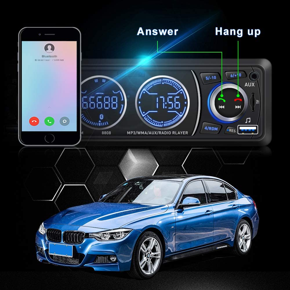 Car Stereo Car Stereo with Bluetooth Single din in Dash car Stereo car Radio car aduio stereos for car Support USB Port SD Card AUX in with Wireless Remote Control