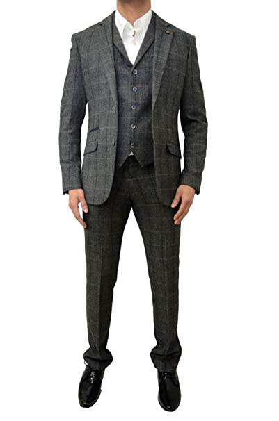 Mens Cavani Designer Checkered Tweed Herringbone 3 Piece Suit Blazer Jacket  Tailored Fit Smart Formal Dinner Coat Waistcoat   Trousers  Amazon.co.uk   ... b098ab9ae5e
