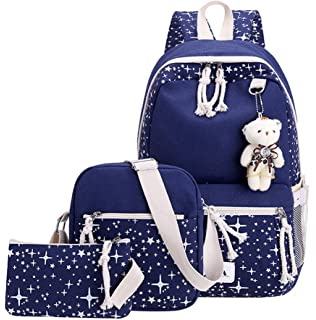 Amazon.com: Juego de mochila escolar de lona ABage, 3 piezas ...